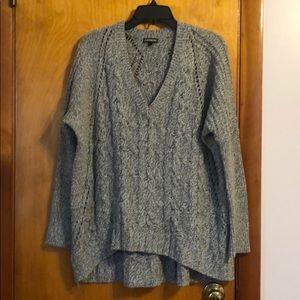 Express Oversized Gray Knitted Sweater Hi Lo Hem